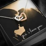 I Love You Sunlight Interlocking Hearts Necklace Gift For Lover