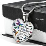 Spiritual Hummingbird My Mind Still Talks To You Stainless Heart Pendant Necklace Gift For Women
