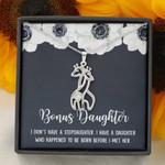 Before I Met Her White Flower Giraffe Couple Necklace Gift For Bonus Daughter