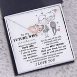 Hold Your Hand And Kiss You Gift For Future Wife Interlocking Hearts Necklace