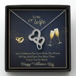 Let's Celebrate Our Love With The World Of Lips Double Hearts Necklace Gift For Wife