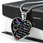Spiritual Hummingbird You Are At Peace Stainless Heart Pendant Necklace Gift For Women