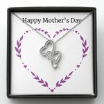 Happy Mother's Day Double Hearts Necklace Gift For Mama