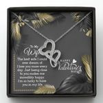 Love You More Everyday Double Hearts Necklace Valentine Gift For Wife