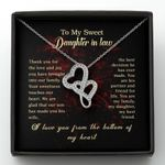 I Love You From The Bottom Of My Heart Gift For Daughter In Law Double Hearts Necklace