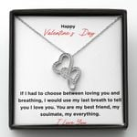 You Are My Soulmate Gift For Lover Double Hearts Necklace
