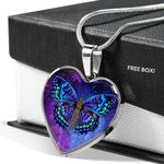 Spiritual Butterfly Stainless Heart Pendant Necklace Gift For Women