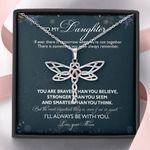 Gift For Daughter Dragonfly Dreams Necklace From Mom You Are Braver Than You Believe