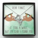 I'm Glad I Found You Gift For Fiancee Sloth Double Hearts Necklace