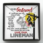 Give You The Ability To See Yourself Gift For Lineman's Girlfriend Double Hearts Necklace