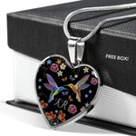 KR Hummingbird Couple Floral Stainless Heart Pendant Necklace Gift For Women