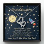 Cute Space Love You To The Moon And Back Gift For Granddaughter Double Hearts Necklace