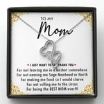 Thank You For Being The Best Mom Ever Gift For Mom Double Hearts Necklace