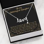 The Gift Of You Black Background Scripted Love Necklace Gift For Bonus Daughter