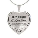 Birthday Gift Always Be There Love Grandpa Heart Pendant Necklace