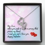I Need You And I Love You Gift For Lover Double Hearts Necklace