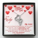 We Are A Team You And Me Gift For Wife Double Hearts Necklace