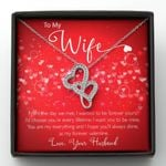 From The Day We Met Double Hearts Necklace Gift For Wife
