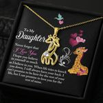 Never Forget That I Love You Gift For Daughter 18K Gold Giraffe Couple Necklace