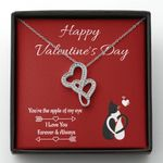 You Are The Apple In My Eyes Gift For Lover Double Hearts Necklace