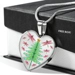 Christmas Pine Tree Pink Dragonfly Stainless Heart Pendant Necklace Gift For Women