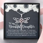 How Special You Are White Flower Dragonfly Dreams Necklace Gift For Daughter