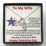 Gift For Veteran's Wife Falling In Love With You Double Hearts Necklace