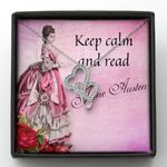 Keep Calm And Read Double Hearts Necklace Gift For Wife Jane Austen