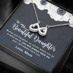 No Matter Where You Go White Flower Infinity Heart Necklace Gift For Daughter