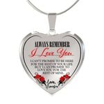 Birthday Gift Color Version Always Be There Love Grandpa Heart Pendant Necklace