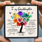 Papa Gift For Granddaughter I Will Always Be There To Support You Colorful Tree Interlocking Hearts Necklace