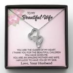 The Queen Of My Heart Double Hearts Necklace Gift For Wife