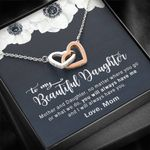 You'll Always Have Me White Flower Interlocking Hearts Necklace Gift For Daughter