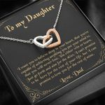 Believe Deep In Your Heart Black Background Interlocking Hearts Necklace Gift For Daughter