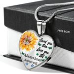 Sunflower Always Will Love You Butterflies Stainless Heart Pendant Necklace Gift For Women