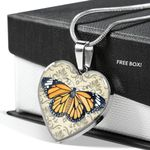 Monarch Butterfly Paisley Design Stainless Heart Pendant Necklace Gift For Women
