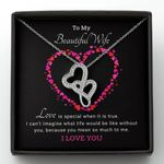 Love Is Special Double Hearts Necklace Gift For Wife