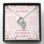 Loving You Is The Only Right Thing Double Hearts Necklace Gift For Wife