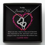Lovely Heart Shaped I Love You Gift For Wife Double Hearts Necklace