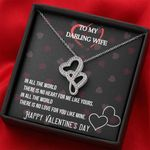 In All The World Double Hearts Necklace Gift For Wife