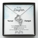 You Are More Worthy Than You Know Double Hearts Necklace Gift For Daughter