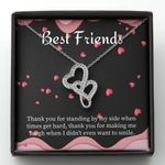 Thank You For Standing By My Side Gift For BFF Double Hearts Necklace