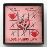 Gift For Girlfriend Love Always Wins Double Hearts Necklace
