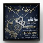 Thank You For Walking Beside Me Double Hearts Necklace Gift For Wife