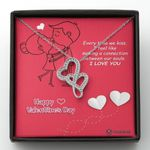 Happy Valentine's Day I Love You Gift For Lover Double Hearts Necklace