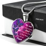 Spiritual Butterfly You Are At Peace Stainless Heart Pendant Necklace Gift For Women