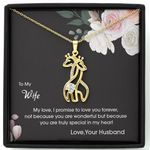 I Promise To Love You Forever Giraffe Couple Necklace Gift For Wife