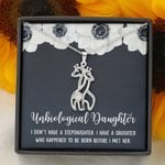 Before I Met Her Flower Giraffe Couple Necklace Gift For Unbiological Daughter