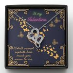 How Much You Mean To Me Golden Butterflies Gift For Lover Double Hearts Necklace