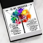 How Much I Love You Colorful Tree Scripted Love Necklace Gift For Daughter